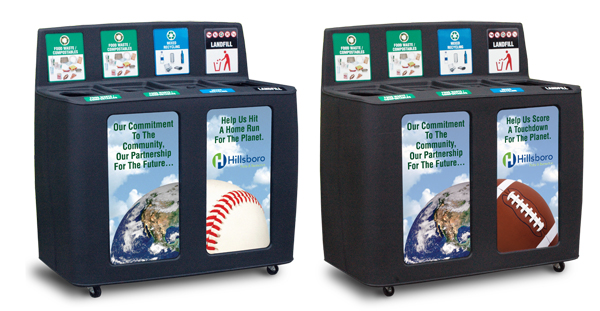 The design team at Pacific Cascade created different messaging labels to represent the different activities featured at the Gordon Faber Recreation Complex where Hillsboro Ballpark is located - Baseball, Football, Soccer, and Softball.